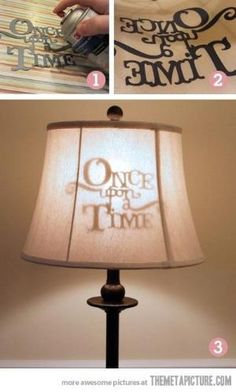 Stenciled lamp shade… cute idea for kids, or movie room. by aftr