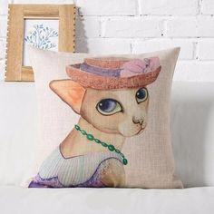 Cartoon Cat Cotton Linen Pillowcase