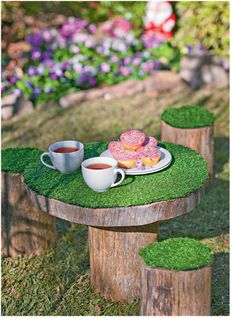 Cute outdoor tea party table for a fairy garden. make this with astro turf and place on hidden deck