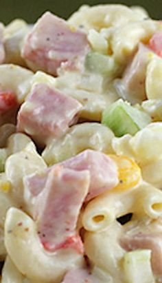 Macaroni Salad Recipe — There are ham chunks in this salad. Some other notable ingredients include h Macaroni Salad With Ham, Mexican Macaroni Salad, Ham Pasta, Pasta Dishes, Ham Salad Recipes, Best Pasta Salad, Hard Boiled, Boiled Eggs, Bbq