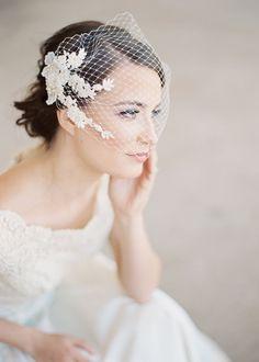 Bridal birdcage bandeau veil