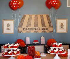 Elmo theme birthday party - Mr. Hooper's Store, so cute!