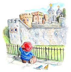 The Tower of London Tower Of London, London Art, Ours Paddington, London Illustration, Arte Disney, Cute Bears, Travel Scrapbook, Watercolor And Ink, Bunt