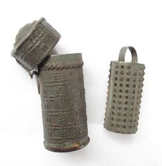 Early Nineteenth Century Tubular Steel Nutmeg Grater/Hinged Cover/Removable Rasp
