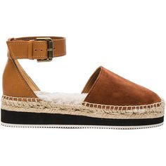 See By Chloe Glyn Espadrille (€185) ❤ liked on Polyvore featuring shoes, sandals, platform espadrilles, see by chloe shoes, espadrilles shoes, macrame shoes and platform sandals