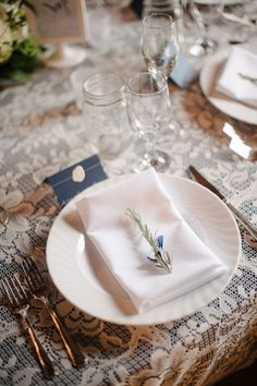 Place card.....rosemary place setting | Sera Petras #wedding