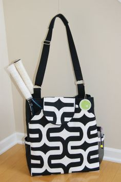 Large Tennis Bag with rounded pockets Made to by TranerTotes, $95.00