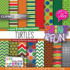Turtles Digital Paper, clip art, Backgrounds, Patterns, for Party Printables, bottle labels, favor boxes, chevron green, silver, metallic