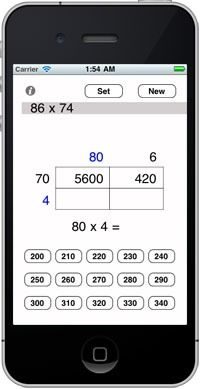 ipad app recommendations including grid/expanded form/area model multiplication