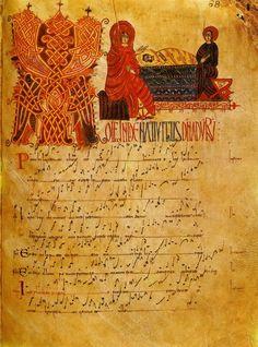 Jesus birth. Mozarabe antiphonary of the Cathedral of Leon. (Photo Oronoz).