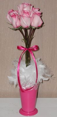 fun topiary with roses and feathers (perfect for Valentine's Day!)