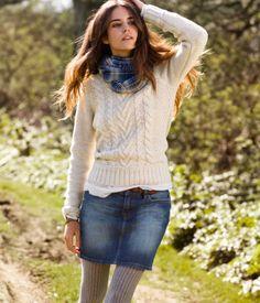 Denim skirt winter style