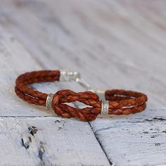 Silver accent braided leather bracelet, 'Square Knot in Russet' - Silver Accent Hand Braided Leather Bracelet in Russet Brown
