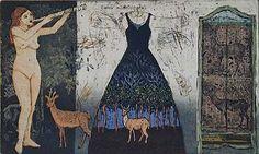 One of my favourites by Kirsi Neuvonen Helene Schjerfbeck, Bambi, Art Images, Illustration Art, Illustrations, Printmaking, Storytelling, Folk Art, Screen Printing