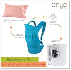Looking for an easy way to wash your baby carrier? Use a pillow case!