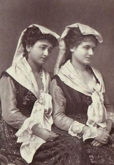 Sisters in traditional costume, Italy, 1870s