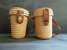 Set of two vintage MINI WOVEN BASKETS. by CabArtVintage on Etsy