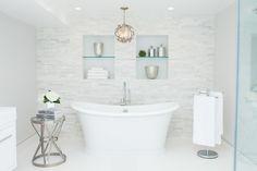 Bathroom with Tiled Accent Wall, Contemporary, Bathroom, Catherine Tonon Interiors