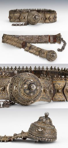 A 19c Russian Caucasus Cossack Pendant belt Part Made Of Silver 84