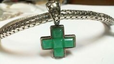 john hardy necklace with jade Cross solid Silver 925 original