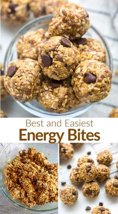 These easy Energy Bites make the perfect healthy snack, made with whole grain oats, peanut butter, honey, chocolate chips, and coconut. Make a big batch to have them on hand for any occasion! #energyballs #energybites #tastesbetterfromscratch #recipe #easy #snack #healthy #nobake via @betrfromscratch Vegan Desserts, Easy Desserts, Delicious Desserts, Yummy Food, Tasty, Appetizer Recipes, Snack Recipes, Dessert Recipes, Oatmeal Recipes