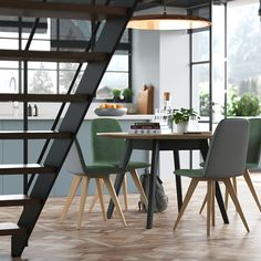 Austrian architects home with industrial architecture. Dining Chairs, Dining Table, Industrial Architecture, Architects, Kitchen, Furniture, Lifestyle, Home Decor, Carpentry