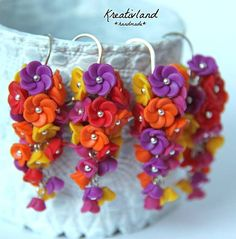 Fruity blues - handcrafted from polymer clay (own design) Polymer Clay, Blues, Floral, Color, Design, Flowers, Colour, Flower