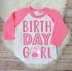 Birthday girl shirt- Peppa pig version, peppa pig birthday shirt, peppa pig birthday, peppa pig party, peppa pig theme party, girls birthday by JADEandPAIIGE on Etsy https://www.etsy.com/listing/570790504/birthday-girl-shirt-peppa-pig-version