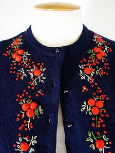Vintage 50s Cardigan - Embroidered Navy Angora w Red Novelty Cherries