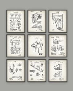 Piano Patent Print Set of 9 - Pianist Musician Wall Decor - Steinway Piano Design - Orchestra Grand Piano - Music Room - Musician Gift Idea Pub Decor, Wall Decor, Wine Wall Art, Musician Gifts, Patent Drawing, Patent Prints, Vintage Prints, Gallery Wall, Grand Piano