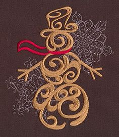 """""""Baroque Noel - Snowman"""" Craft a glamorous Christmas with this beautiful, swirling snowman design! - UT7138 (Machine Embroidery) 00572034-112013-0830-6"""