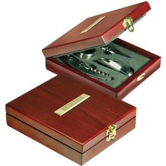 Rosewood wine set with wine pourer. Rosewood box with brass engraving plate and stainless steel tools. Stainless steel tools: waiter's key corkscrew, pourer with stopper, drip ring and bottle stopper. Pieces fit snugly in foam insert. Lifetime guarantee. Supplier is QCA certified.