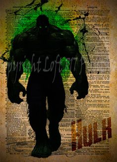 Avengers, Hulk, Vintage Silhouette print, Retro Super Hero Art, Dictionary print art
