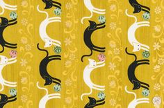HALF YARD Quilt Gate Hyakka Ryoran NEKO cats in by kimonomomo