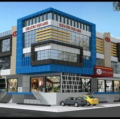 Office Building Architecture, Facade Architecture, Building Design, Plaza Design, Mall Design, Building Elevation, House Elevation, Commercial Complex, Commercial Design