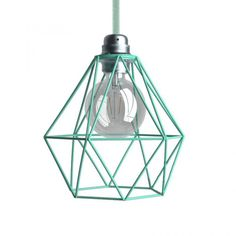 creative cables Naked light bulb cage metal lampshade Diamond with fitting - Turquoise Ceiling Hanging, Metal Ceiling, Ceiling Pendant, Pendant Lamp, Pendant Lighting, Ceiling Lights, Lounge Lighting, Cage Pendant Light, Hanging Pendants