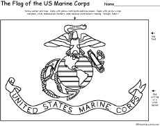US Marine Corp Flag coloring book page  free  Cub Scouts