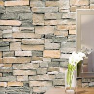 Roommates Natural Brown Stacked Stone Peel And Stick Wallpaper Walmart Com White Brick Wallpaper Brick Wallpaper Wall Wallpaper