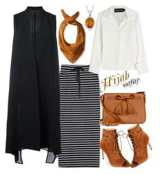 """#Hijab_outfits #Brown"" by mennah-ibrahim on Polyvore featuring WithChic, Brandon Maxwell, demoo parkchoonmoo, Versace, Ross-Simons, Kate Spade and Jones New York"