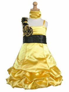 Yellow and black flower girl dress