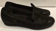 25.23$  Watch here - http://vibdd.justgood.pw/vig/item.php?t=i4dv7228734 - Munro American Jerrie Black Shimmer Leather Womens Flats Shoes Sz 7.5 M Slip On 25.23$