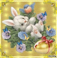A tired hare. Happy Easter Gif, Happy Easter Greetings, Easter Bunny, Easter Eggs, Nightmare Before Christmas Wallpaper, Easter Messages, Fairy Crafts, Easter Pictures, Colouring Pics