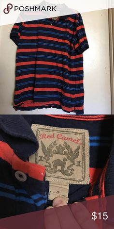NWOT striped polo*final price* Orange and blue striped polo. This shirt has never been worn and is in perfect condition. Red Camel Shirts Polos