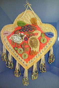 Antique-Native-American-Iroquios-Glass-Bead-Beadwork-Trilobe-Whimsy-Sheep-Goose