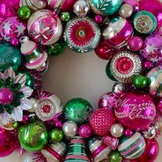 Ornament Wreath Vintage Pink and Green Preppy by AquaMarineQueen