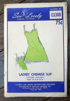 Sew Lovely CS300 DIY Ladies' Chemise Slip Vintage | Etsy Lingerie Patterns, Sewing Lingerie, Vintage Lingerie, Vintage Barbie, Cat Flats, What Is Advertising, Types Of Lace, Sweet 16 Dresses, Etsy Vintage