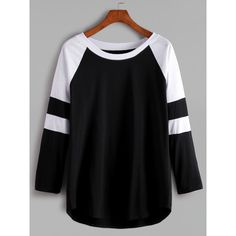 Black And White Contrast Raglan Sleeve T-shirt ($11) ❤ liked on Polyvore featuring tops, t-shirts, black and white, raglan sleeve top, stretch t shirt, raglan tee, round neck t shirts and cotton blend t shirt