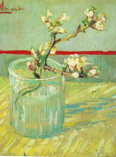 Van Gogh Museum - Sprig of Flowering Almond Blossom in a Glass, A exquisite tiny still life. One of my favorites at the Van Gogh Museum in Amsterdam. Vincent Van Gogh, Van Gogh Museum, Art Van, Van Gogh Arte, Van Gogh Pinturas, Tableaux Vivants, Van Gogh Paintings, Flower Paintings, Painting Flowers