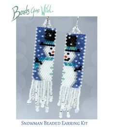 Snowman Earrings- Beading KIT Brick Stitch Earrings, Seed Bead Earrings, Beaded Earrings, Beaded Jewelry, Seed Beads, Christmas Tree Earrings, Earring Tree, Bead Loom Patterns, Native American Beading