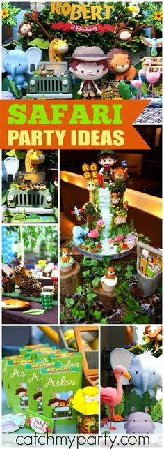 What an incredible jungle safari boy birthday party! See more party ideas… 1st Birthday Boy Themes, Safari Theme Birthday, Birthday Party Planner, Safari Party, Jungle Safari, Birthday Ideas, Baby Birthday, Birthday Parties, Jungle Book Party